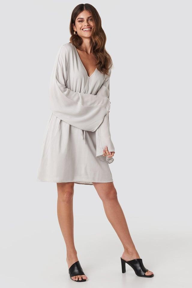 Trumpet Sleeve V-neck Dress Grey