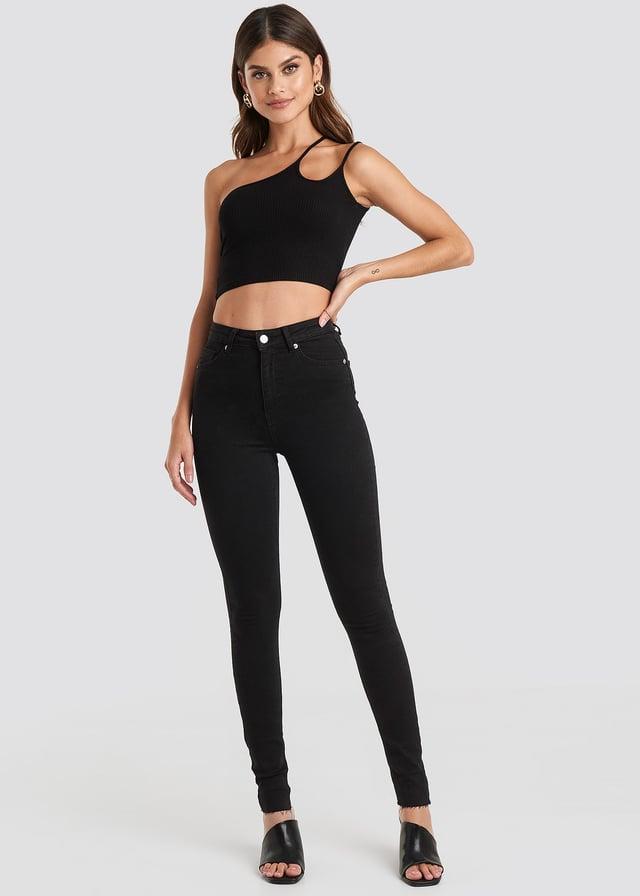 Skinny High Waist Raw Hem Jeans Tall Black Outfit