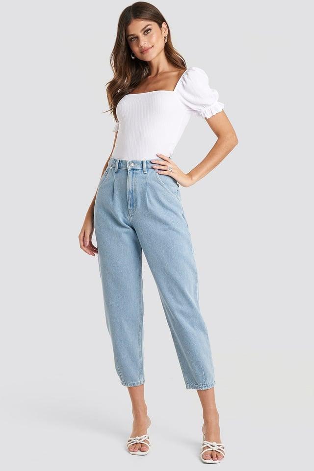 Light Blue Bio-Baumwoll-Jeans Mit Faltendetail