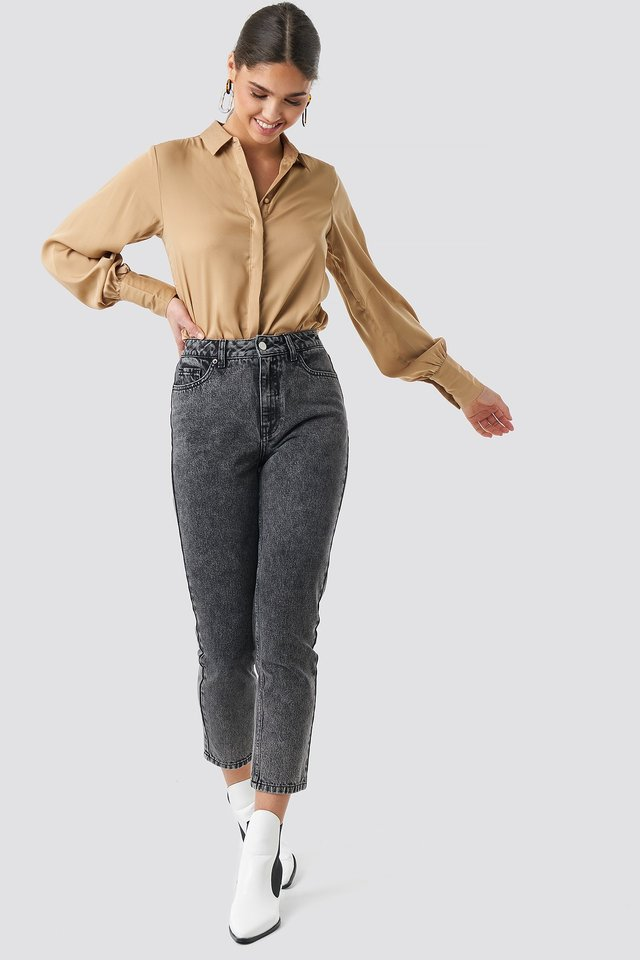 Cropped 5 Pocket Jeans Grey Outfit
