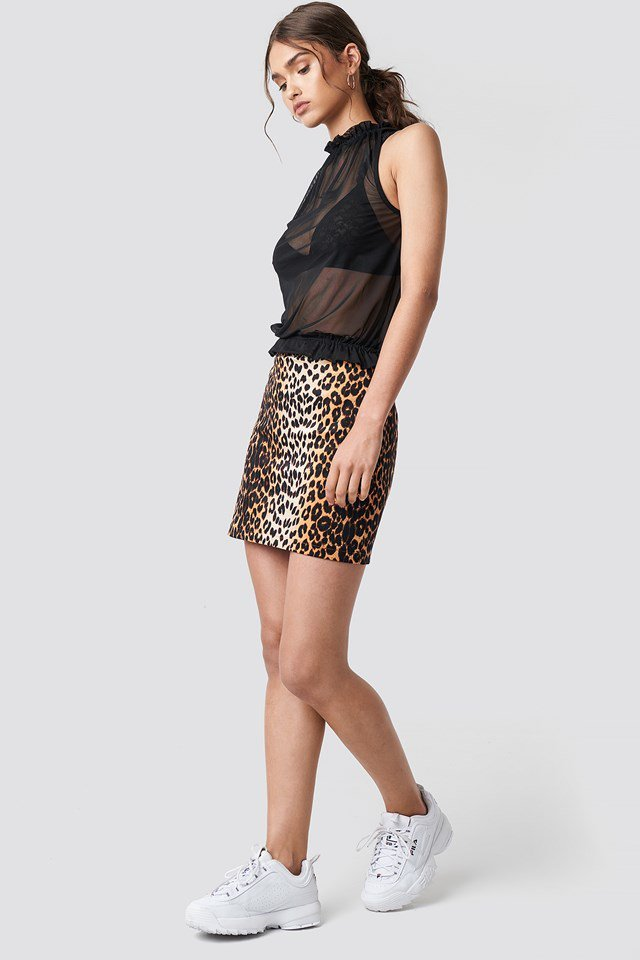 Leopard Mini Skirt Outfit