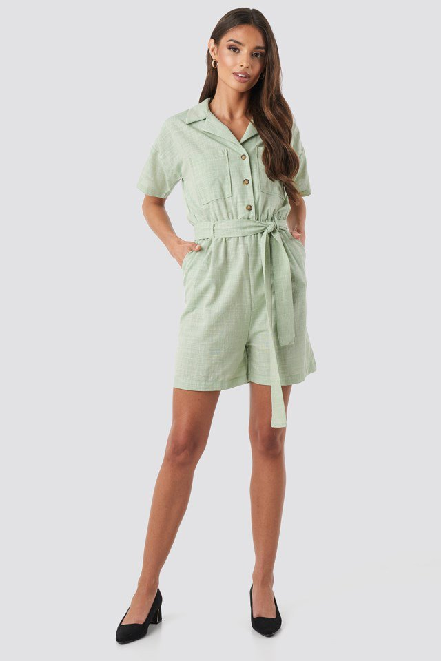Waistband Belted Playsuit Green Outfit