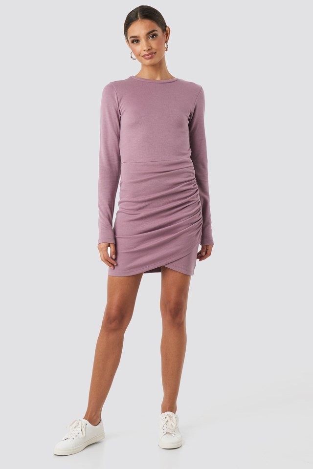 Twist Wrap Jersey Dress Purple Outfit