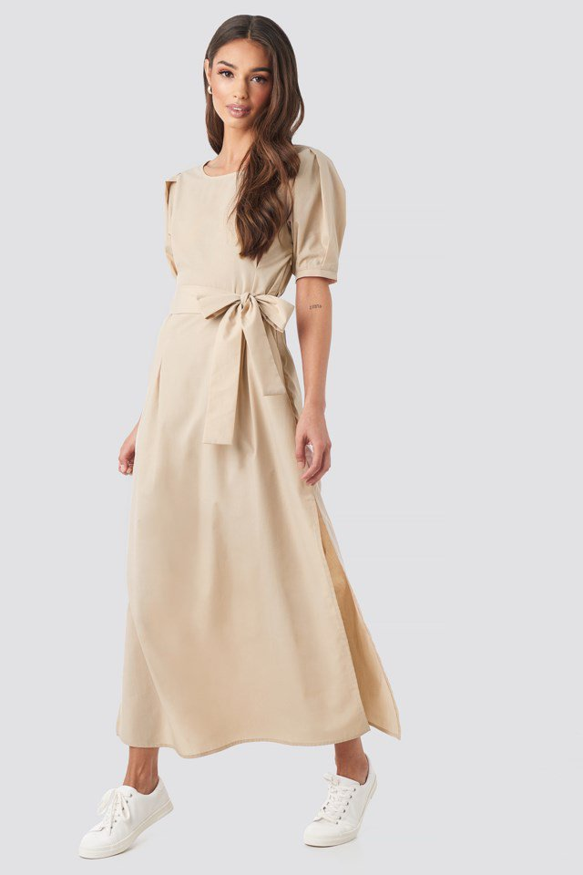 Puff Sleeve Belted Maxi Dress Beige Outfit