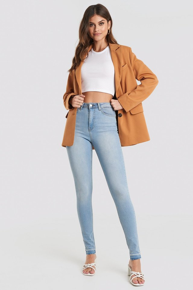 Skinny High Waist Open Hem Jeans Tall Blue Outfit.