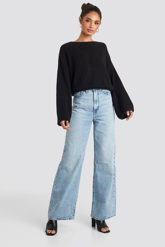 Cropped Boat Neck Knitted Sweater Black Outfit.