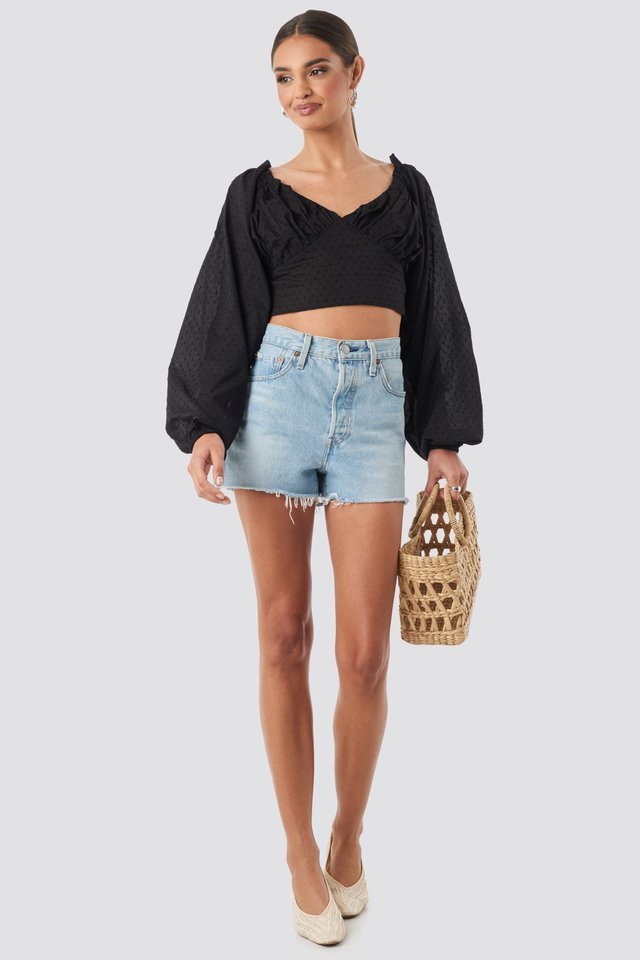 Cropped Cotton Dobby Top Black