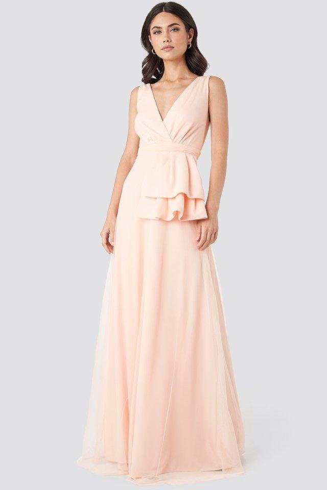 Peplum Detailed Evening Dress Pink Outfit