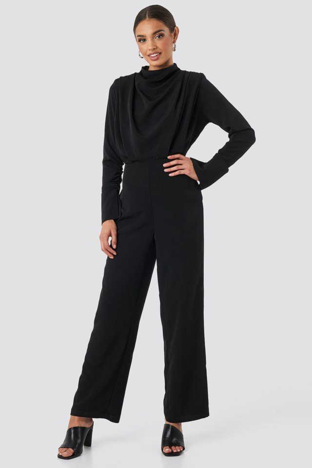 Draped Jumpsuit Black Outfit