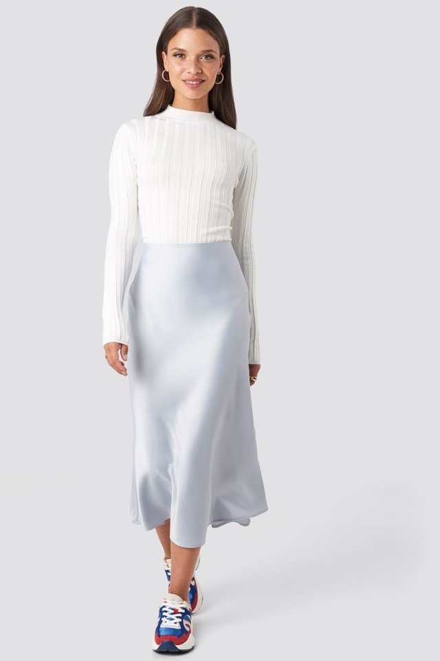 Ribbed High Neck Knitted Sweater White Outfit.