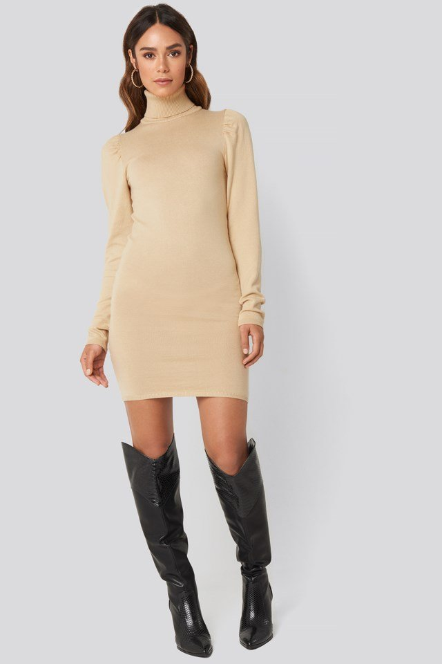 High Neck Puffy Shoulder Dress Outfit