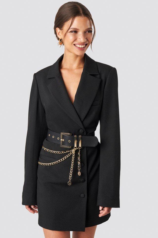 Chain Detail Belt over Blazer Dress