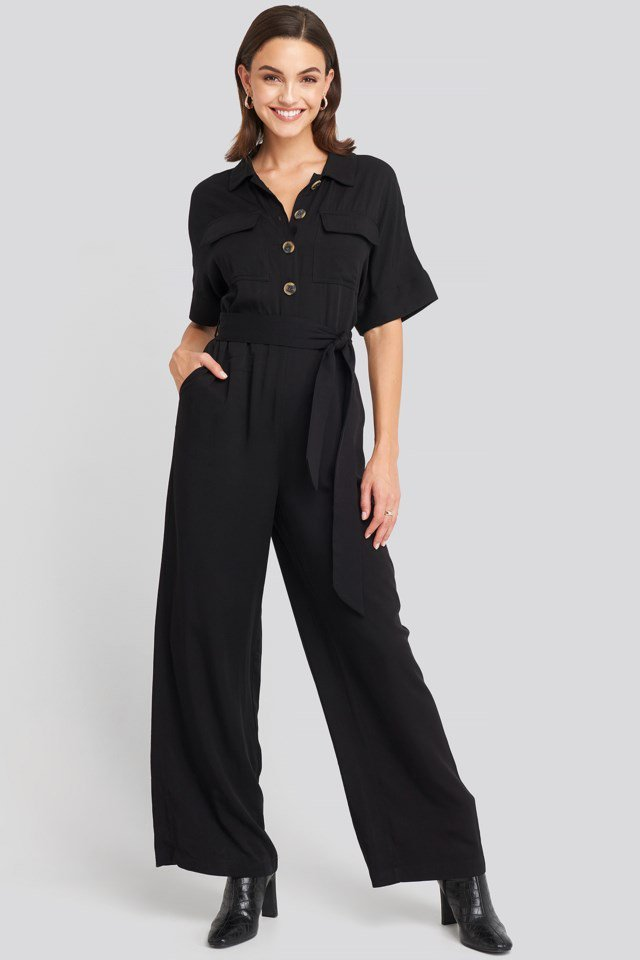 Chest Pocket Buttoned Jumpsuit Black Outfit