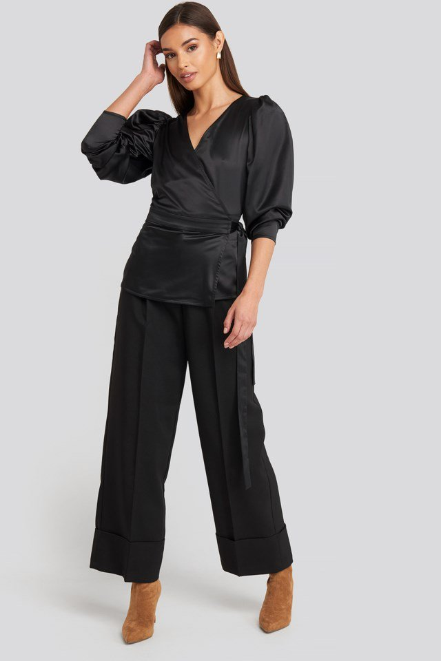 Puff Sleeve Wrap Blouse Black Outfit