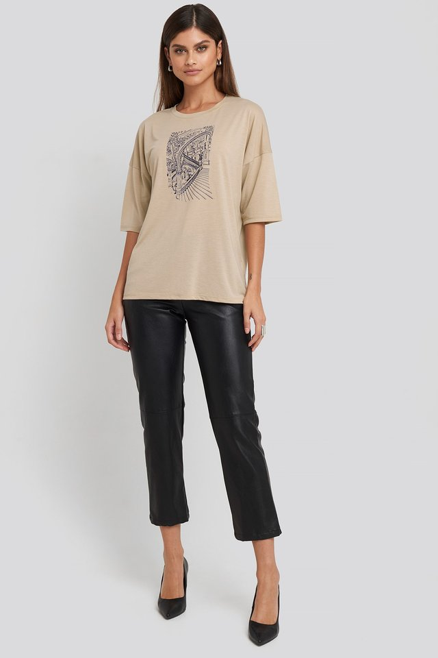 Printed Oversized Viscose Tee Beige Outfit