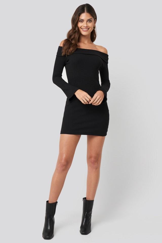Carmen Neckline Mini Dress Black Look