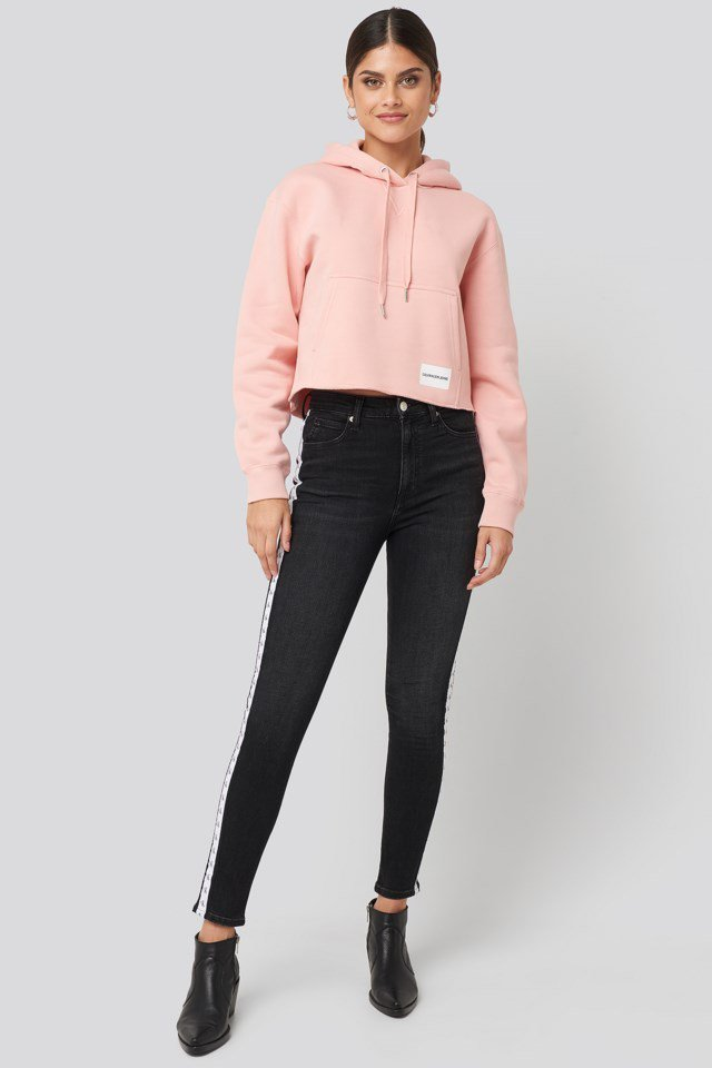 High Rise Skinny Ankle Denim Jeans Black Look