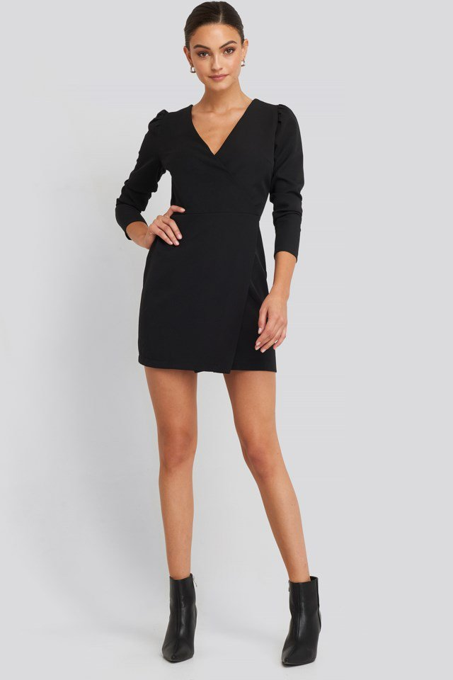 Puff Sleeve Wrap Mini Dress Look