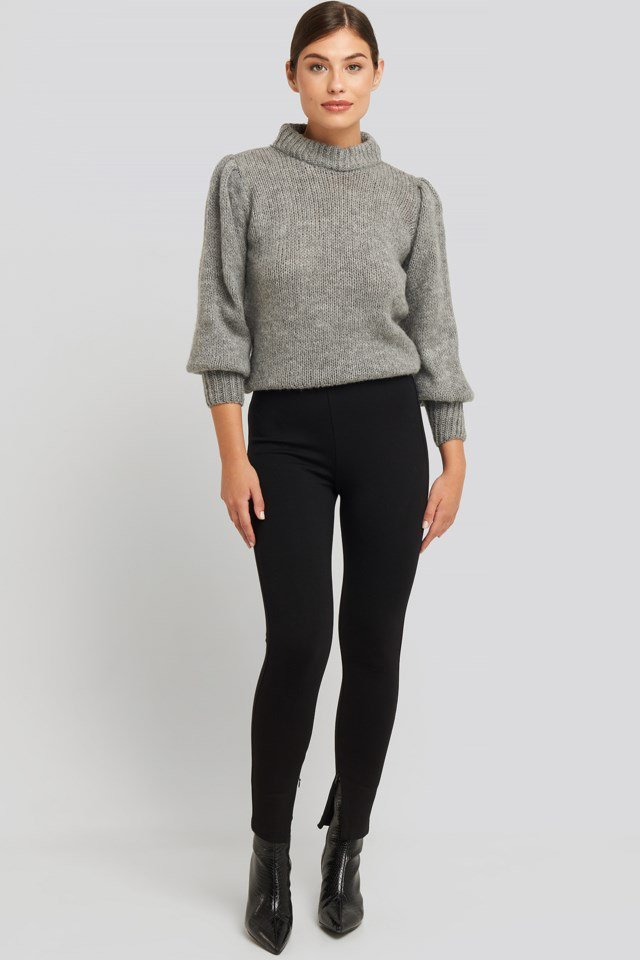 Zip Detail Jersey Pants Outfit