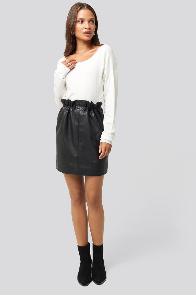 Drawstring Pu Skirt Look