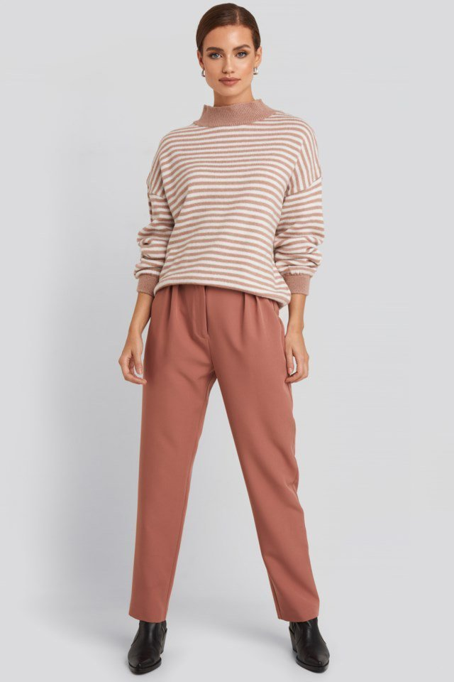 Striped Balloon Sleeve Knitted Sweater Outfit.