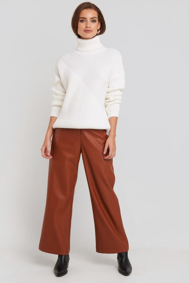 Roll Neck Asymmetric Rib Sweater Outfit.