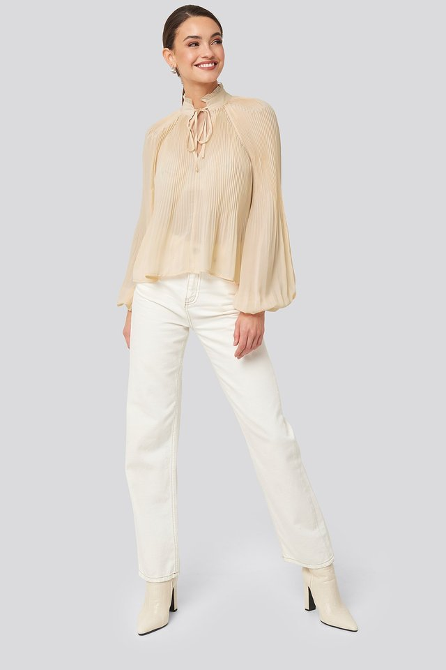 Tie-Neck Pleated Blouse White Outfit.