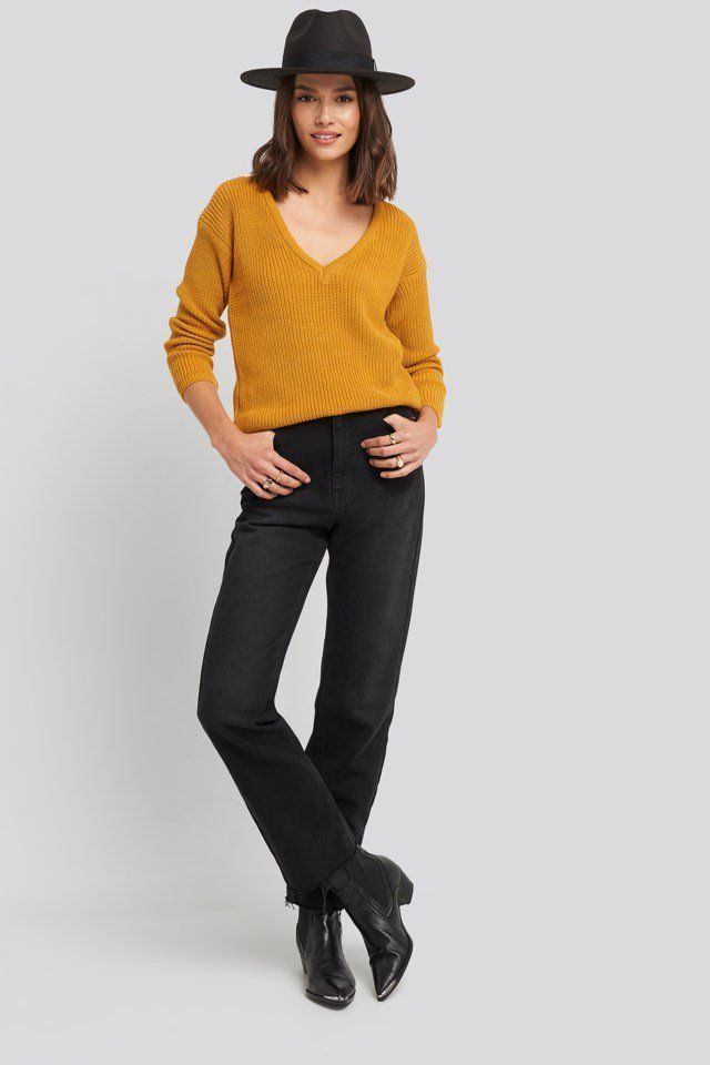 Deep Front V-neck Knitted Sweater Yellow Outfit