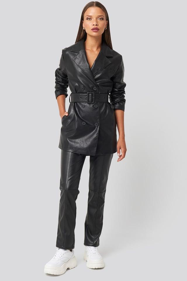 Oversized PU Leather Jacket Look