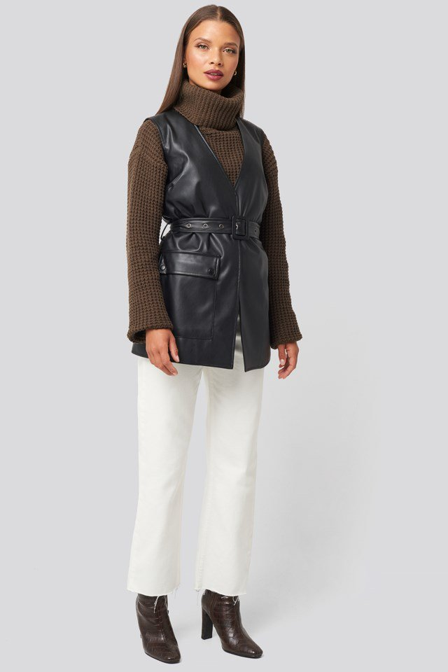 Belted PU Vest Look