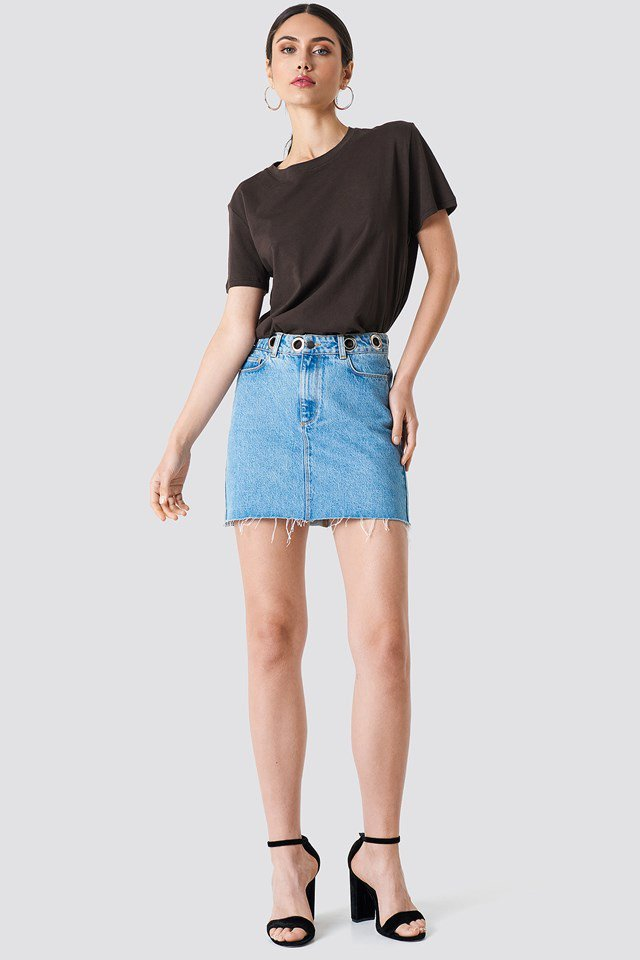 Denim Skirt with Basic Tee Outfit