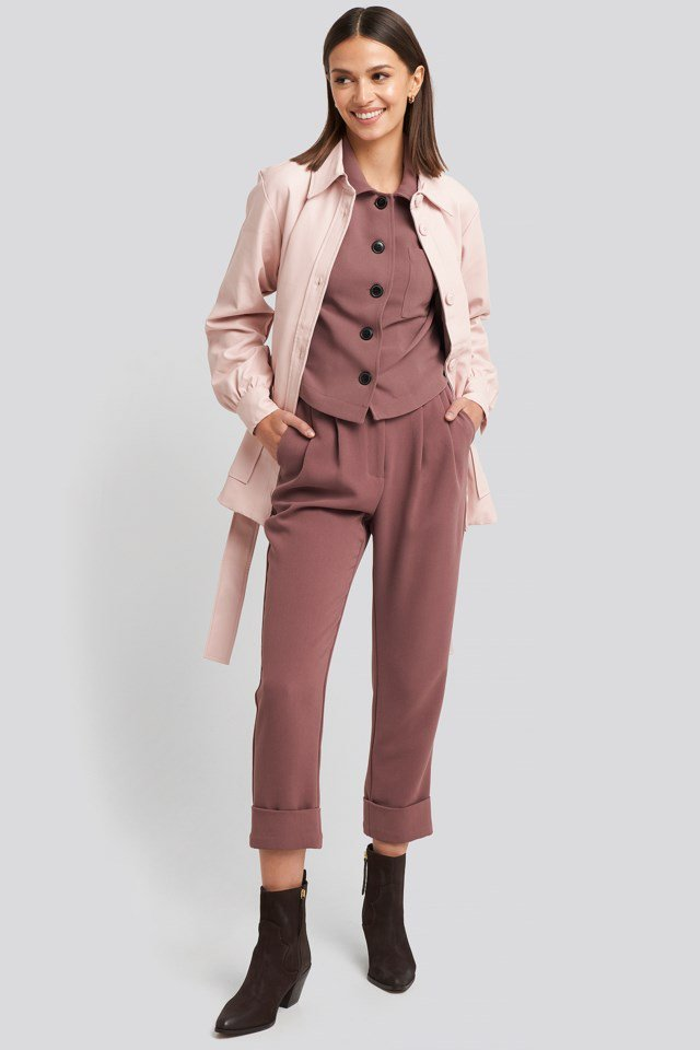 Balloon Sleeve Tied Waist Pu Jacket Outfit