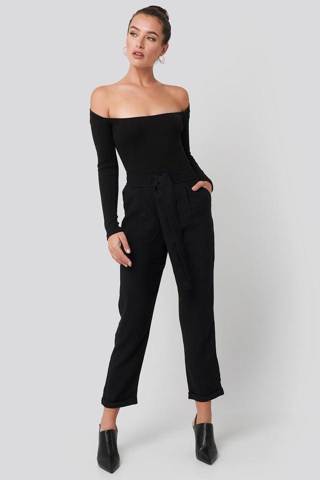 Tied Belt Elastic Pants Black Outfit.