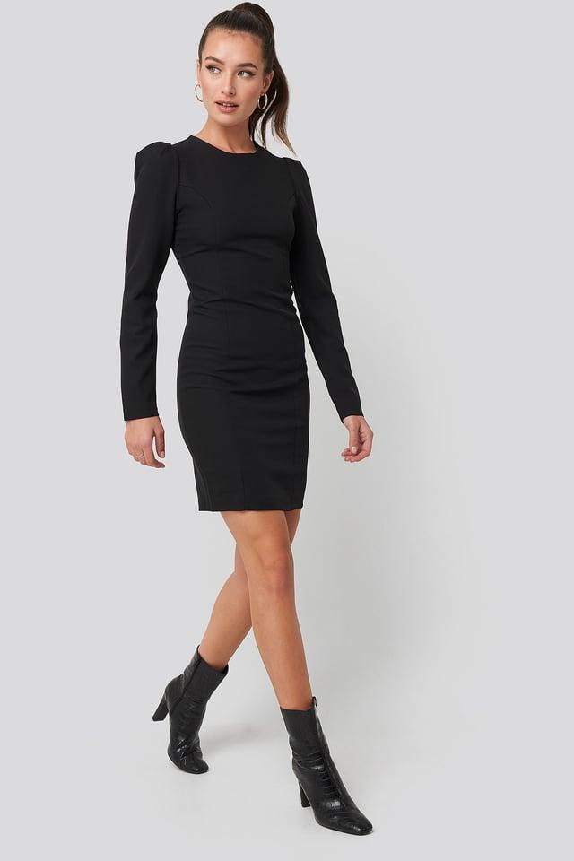 Mini Puff Sleeve Dress Black Outfit.