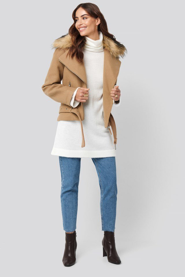 Beige Oversized Polo Knitted Long Sweater