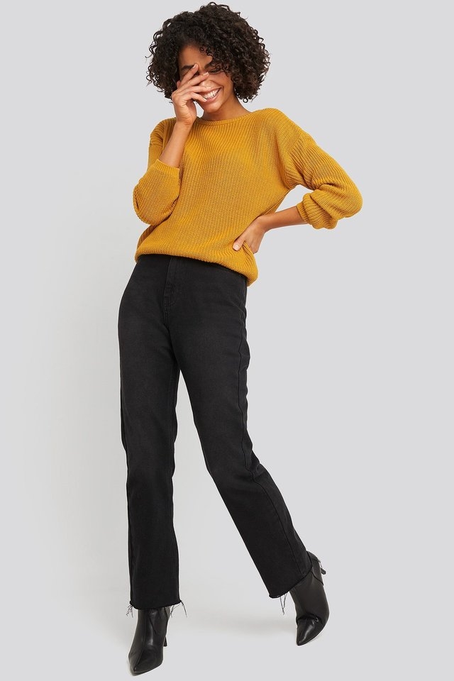 Knitted Deep V-neck Sweater Yellow Outfit.