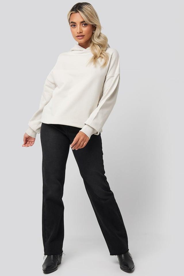 Basic Wide Hoodie Beige Outfit.