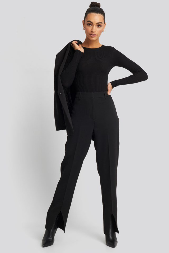 Front Slit Suit Trousers Outfit