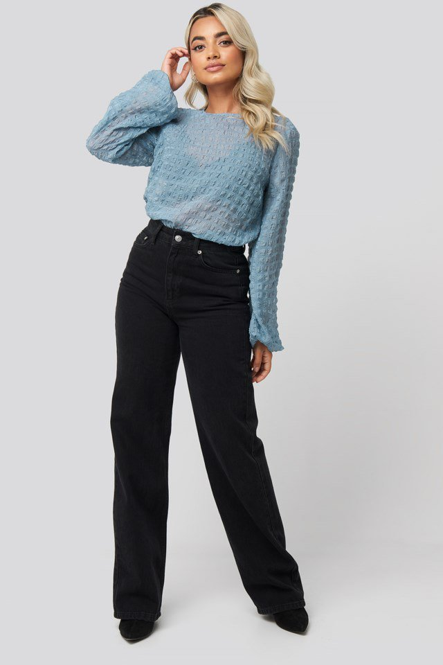 Round Neck Structured Blouse Blue Outfit.