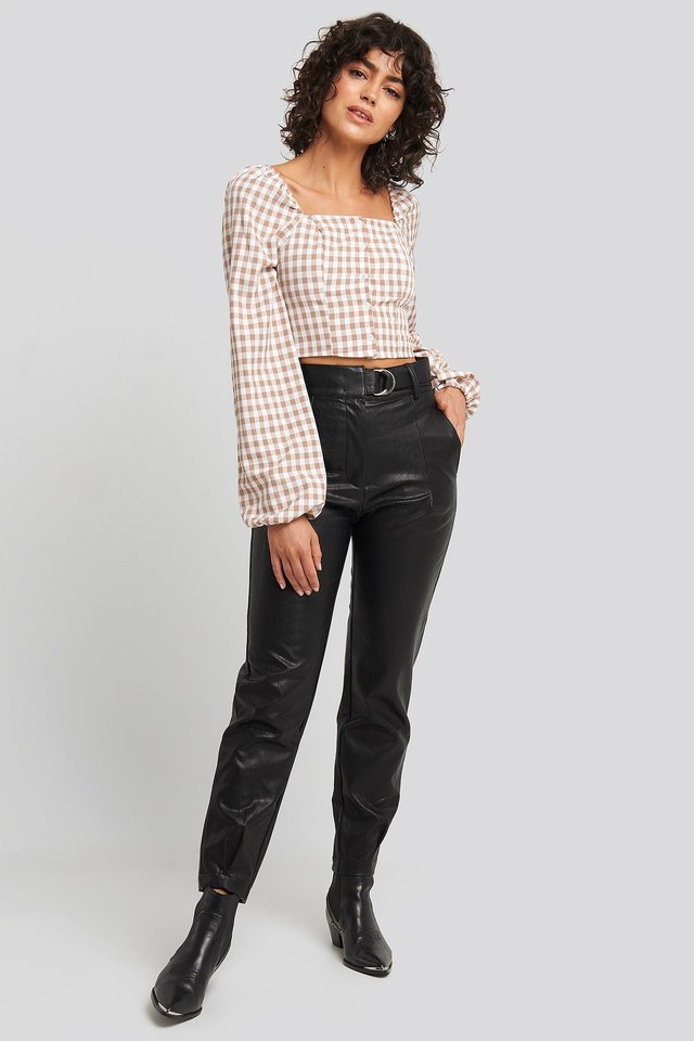 Buckle Belt Detailed Pu Pants Black Outfit