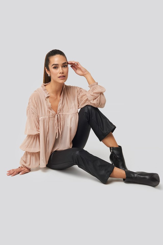 Puffy Sleeve Draped Chiffon Blouse Pink Outfit