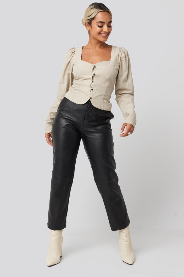 Front Bead Detail Blouse Outfit