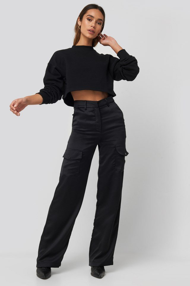 Satin Cargo Pants Outfit
