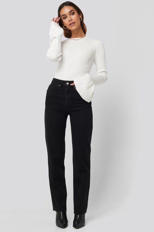 Flared Cuff Ribbed Top Outfit