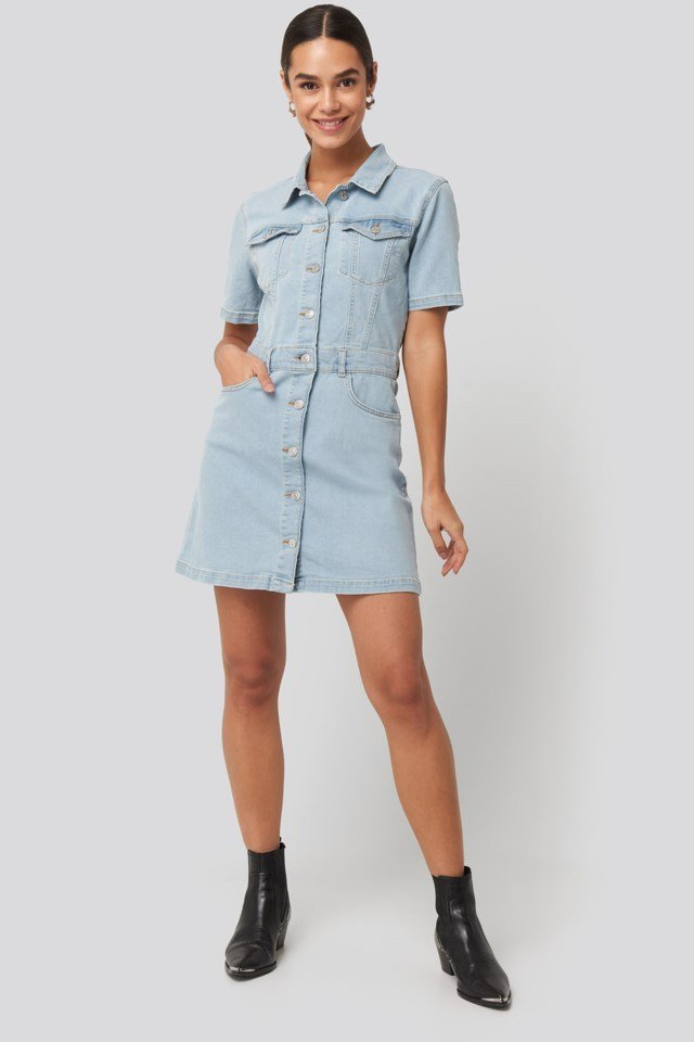 Button Up Mini Denim Dress Look