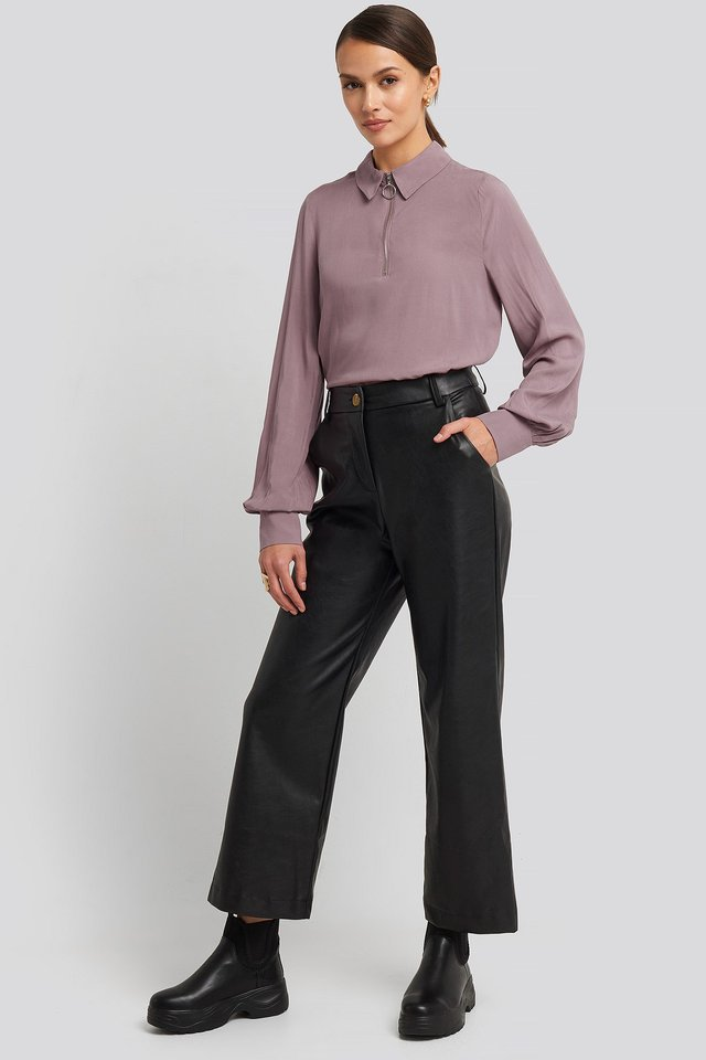 Zip Detail Blouse Purple Outfit