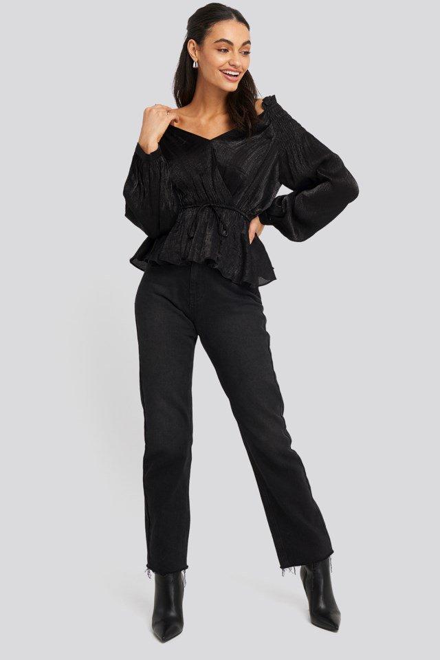 Smock Shoulder Drawstring Blouse Outfit.