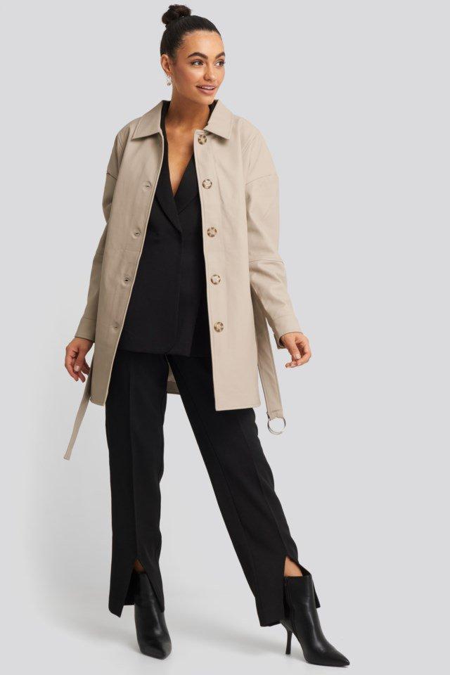 Buckle Belt Pu Jacket Outfit
