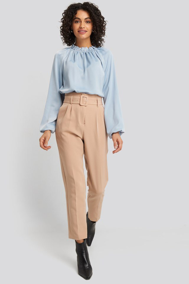 Gathered Neck Blouse Look