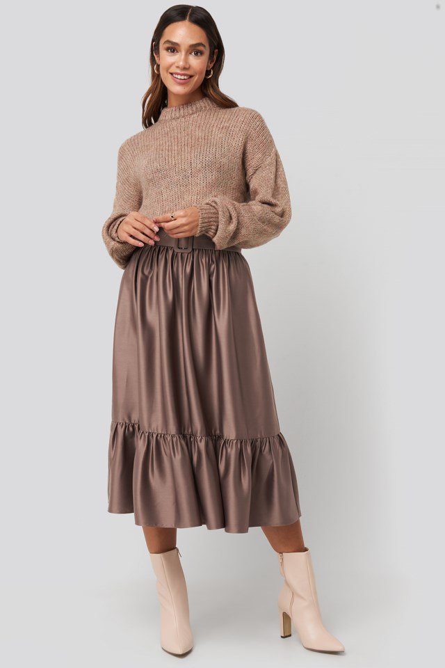 Belted Satin Skirt Copper Look